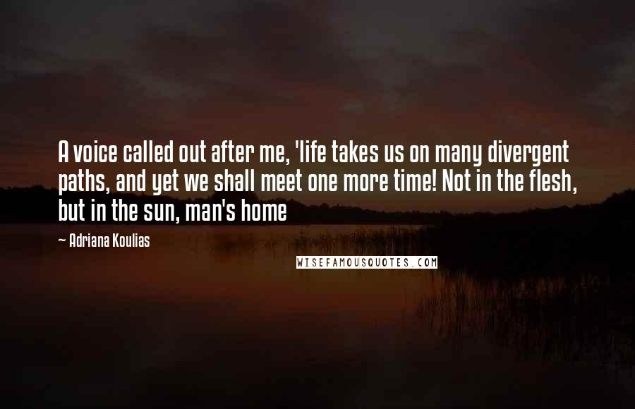 Adriana Koulias Quotes: A voice called out after me, 'life takes us on many divergent paths, and yet we shall meet one more time! Not in the flesh, but in the sun, man's home
