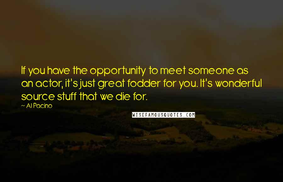 Al Pacino Quotes: If you have the opportunity to meet someone as an actor, it's just great fodder for you. It's wonderful source stuff that we die for.