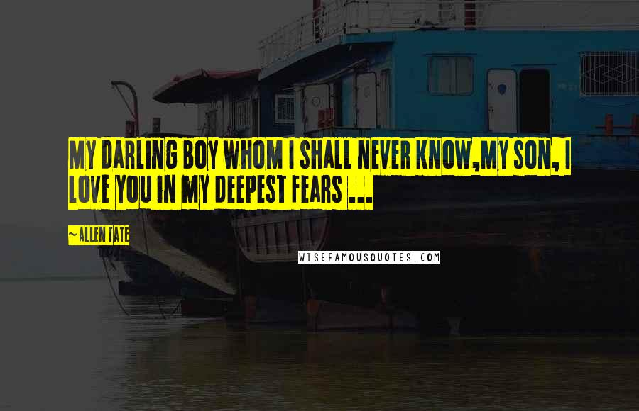 Allen Tate Quotes: My darling boy whom I shall never know,My son, I love you in my deepest fears ...