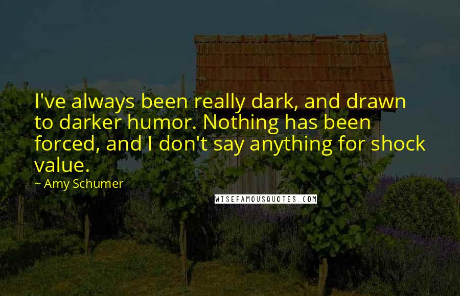 Amy Schumer Quotes: I've always been really dark, and drawn to darker humor. Nothing has been forced, and I don't say anything for shock value.
