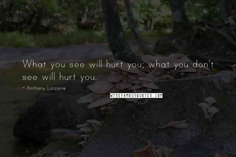 Anthony Liccione Quotes: What you see will hurt you; what you don't see will hurt you.