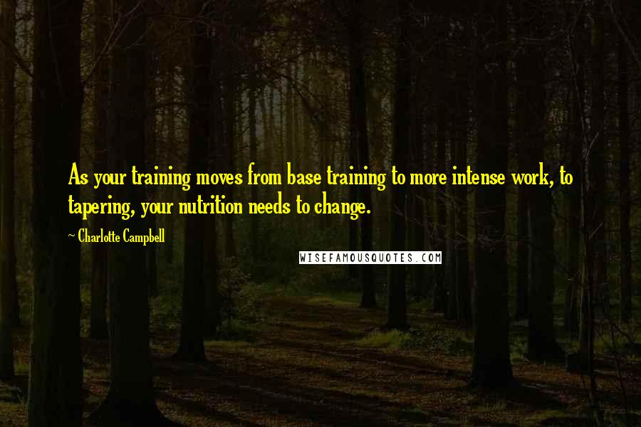 Charlotte Campbell Quotes: As your training moves from base training to more intense work, to tapering, your nutrition needs to change.