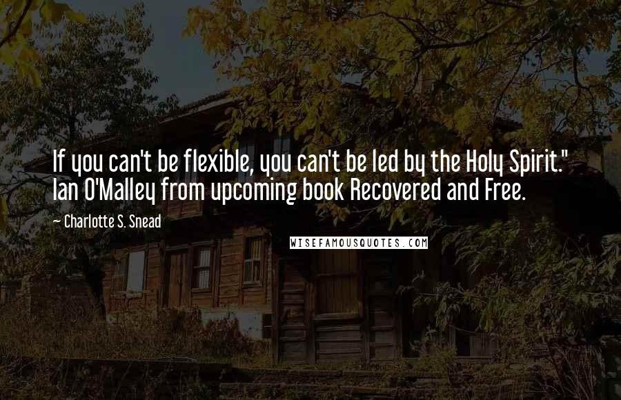 "Charlotte S. Snead Quotes: If you can't be flexible, you can't be led by the Holy Spirit."" Ian O'Malley from upcoming book Recovered and Free."