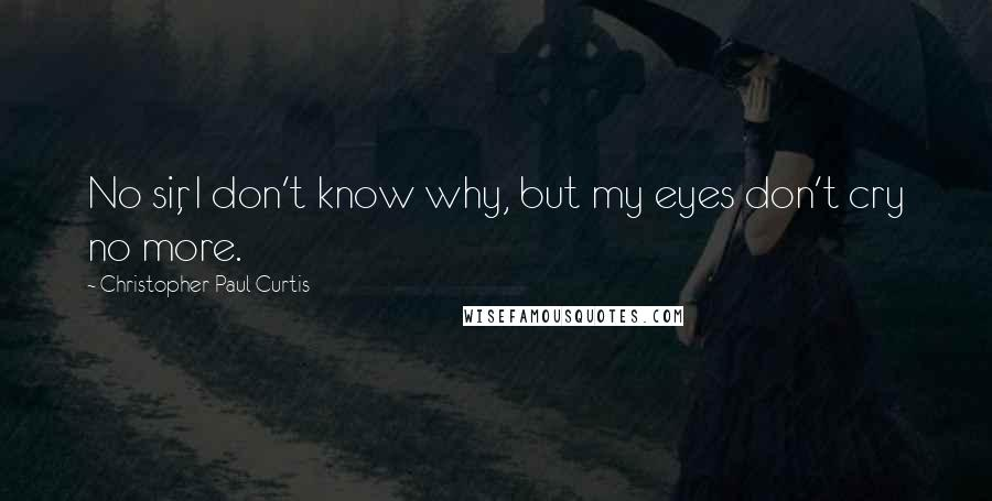Christopher Paul Curtis Quotes: No sir, I don't know why, but my eyes don't cry no more.