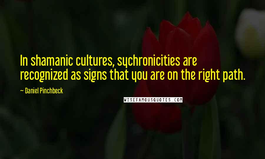 Daniel Pinchbeck Quotes: In shamanic cultures, sychronicities are recognized as signs that you are on the right path.