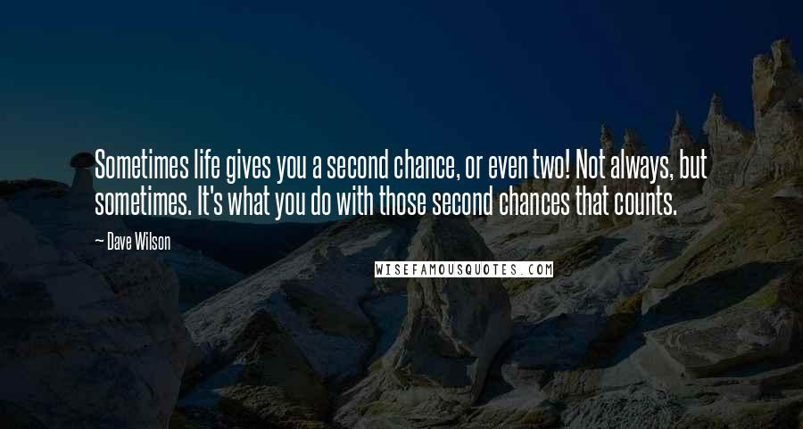 Dave Wilson Quotes: Sometimes life gives you a second chance, or even two! Not always, but sometimes. It's what you do with those second chances that counts.