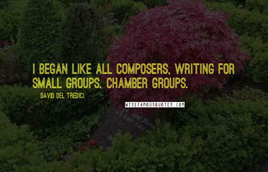 David Del Tredici Quotes: I began like all composers, writing for small groups. Chamber groups.
