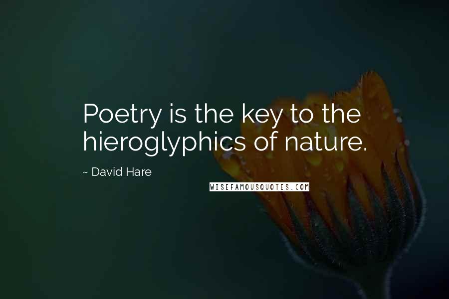 David Hare Quotes: Poetry is the key to the hieroglyphics of nature.