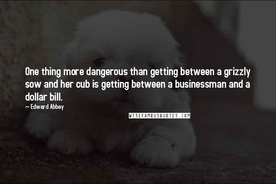 Edward Abbey Quotes: One thing more dangerous than getting between a grizzly sow and her cub is getting between a businessman and a dollar bill.