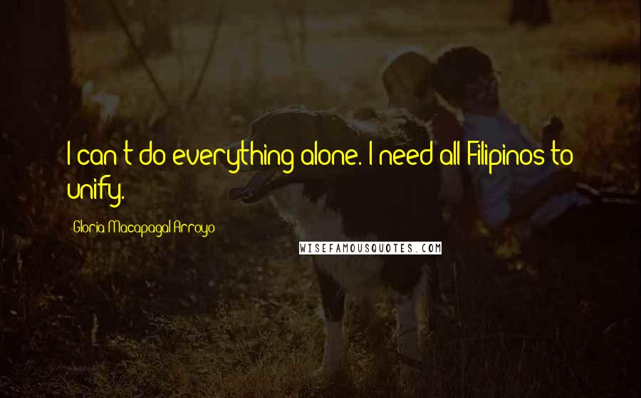 Gloria Macapagal-Arroyo Quotes: I can't do everything alone. I need all Filipinos to unify.