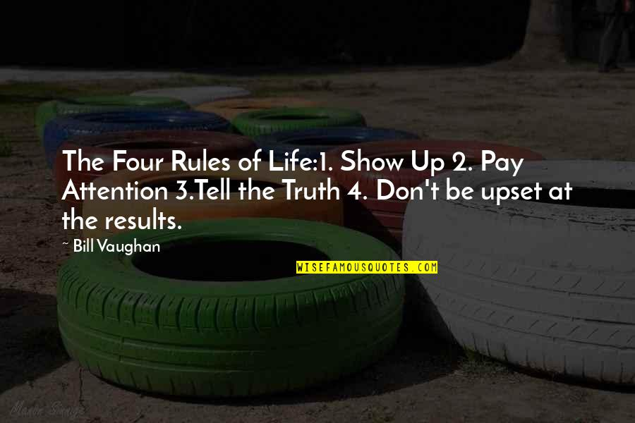 1-Jan Quotes By Bill Vaughan: The Four Rules of Life:1. Show Up 2.