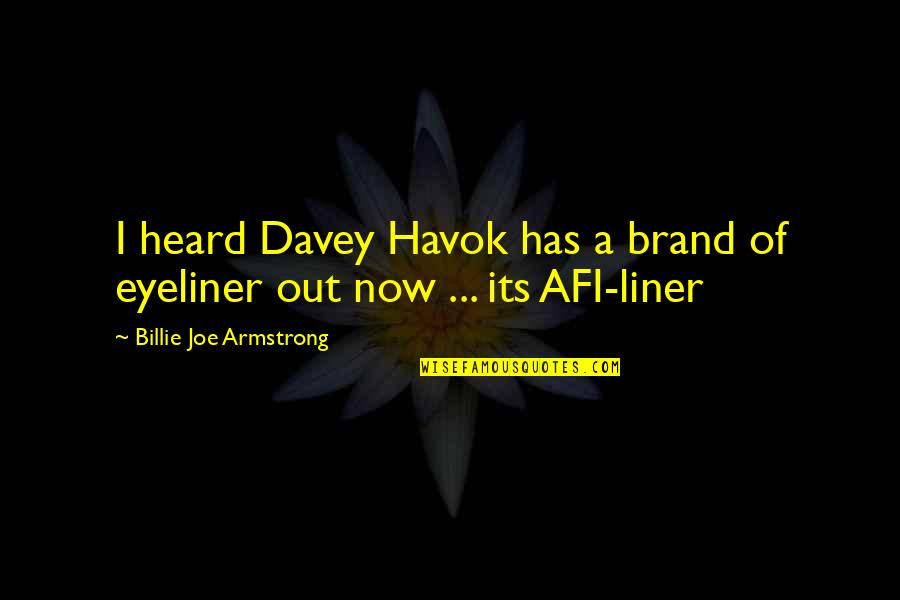 1 Liner Quotes By Billie Joe Armstrong: I heard Davey Havok has a brand of
