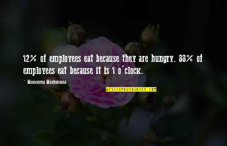 1 O'clock Quotes By Mokokoma Mokhonoana: 12% of employees eat because they are hungry.