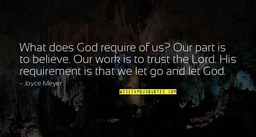 100 Cute Quotes By Joyce Meyer: What does God require of us? Our part