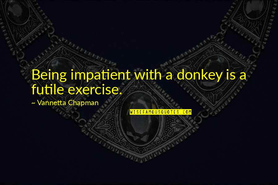 100th Birthday Funny Quotes By Vannetta Chapman: Being impatient with a donkey is a futile