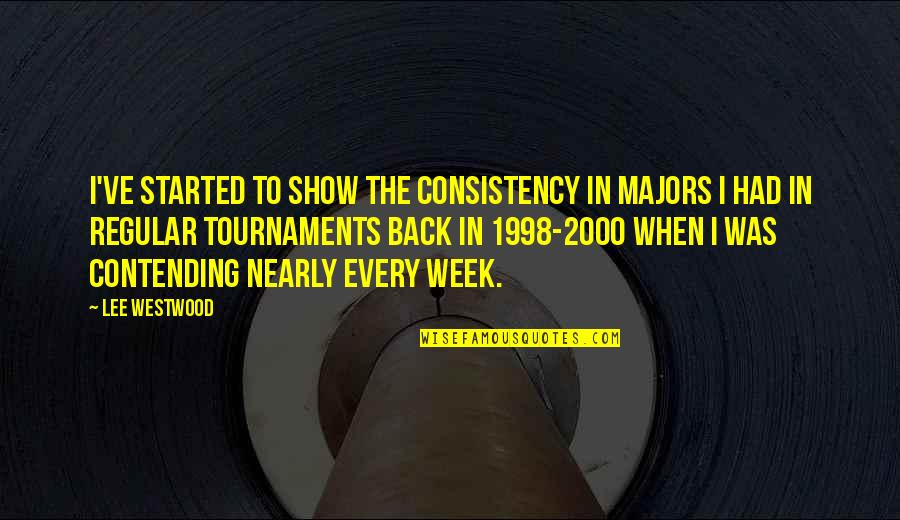1998 Quotes By Lee Westwood: I've started to show the consistency in majors