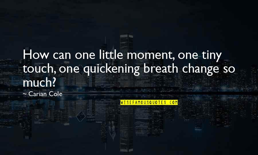 19th Death Anniversary Quotes By Carian Cole: How can one little moment, one tiny touch,