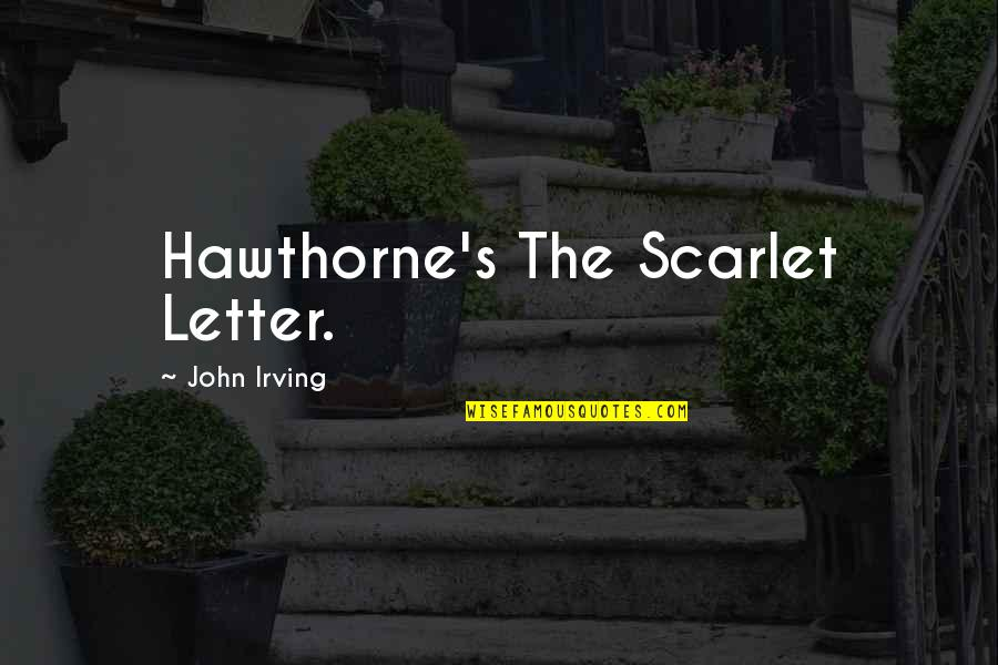 2 Or 3 Letter Quotes By John Irving: Hawthorne's The Scarlet Letter.