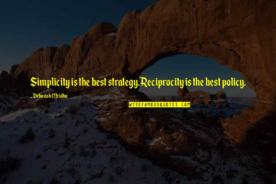 2014 Ended Quotes By Debasish Mridha: Simplicity is the best strategy.Reciprocity is the best
