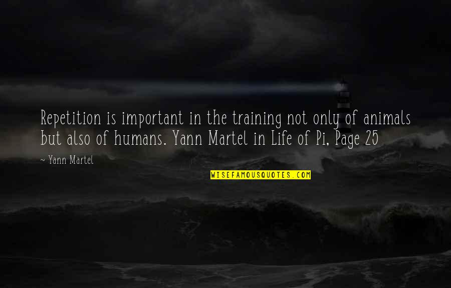 25 To Life Quotes By Yann Martel: Repetition is important in the training not only
