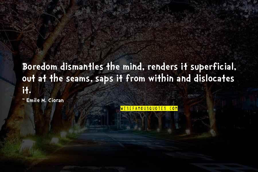 3 Pointers Quotes By Emile M. Cioran: Boredom dismantles the mind, renders it superficial, out