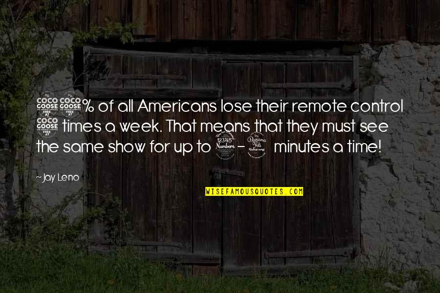 5 Minutes Quotes By Jay Leno: 55% of all Americans lose their remote control