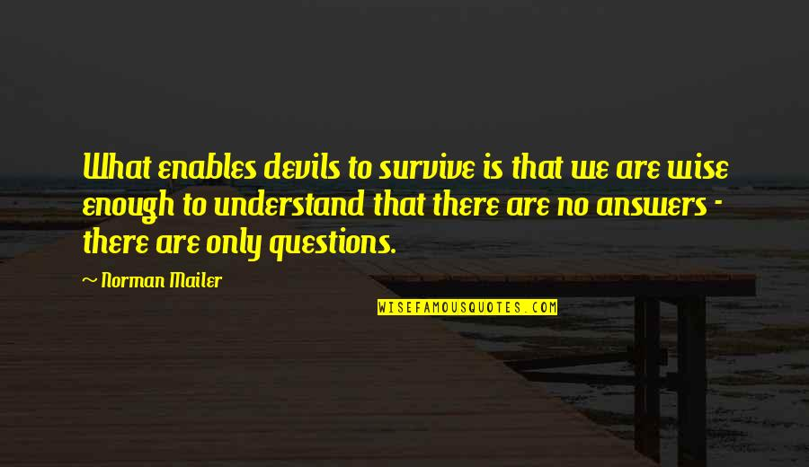50mm Quotes By Norman Mailer: What enables devils to survive is that we