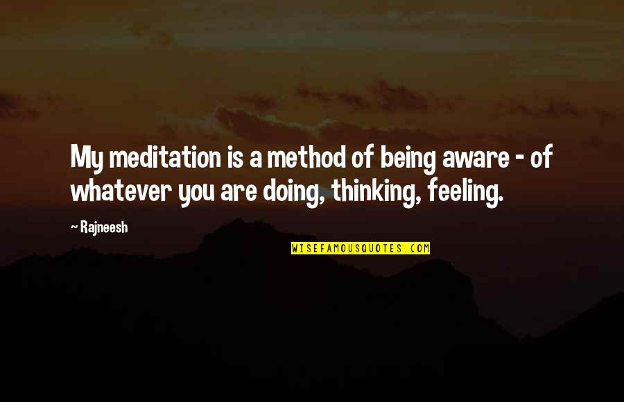 60th Anniversary Thank You Quotes By Rajneesh: My meditation is a method of being aware