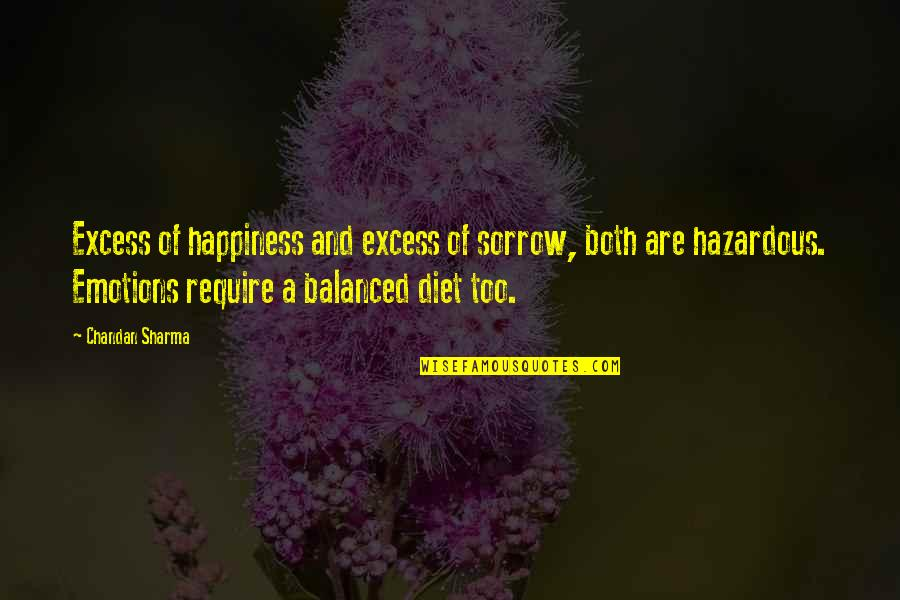 A Balanced Life Quotes By Chandan Sharma: Excess of happiness and excess of sorrow, both