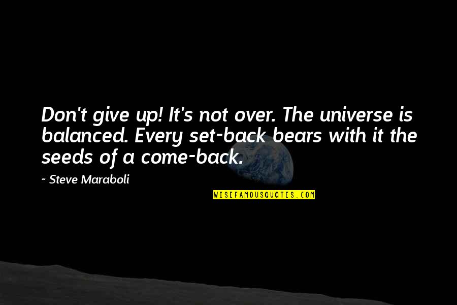 A Balanced Life Quotes By Steve Maraboli: Don't give up! It's not over. The universe