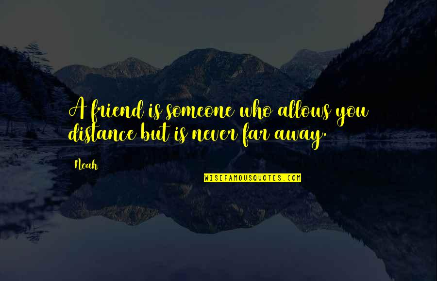 A Best Friend Is Someone Who Quotes By Noah: A friend is someone who allows you distance