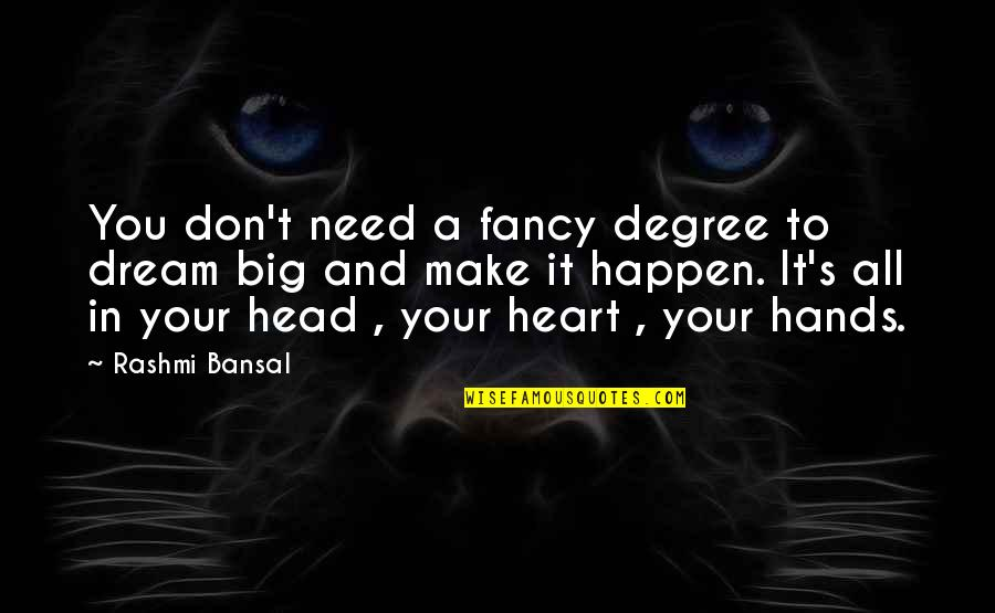 A Big Heart Quotes By Rashmi Bansal: You don't need a fancy degree to dream