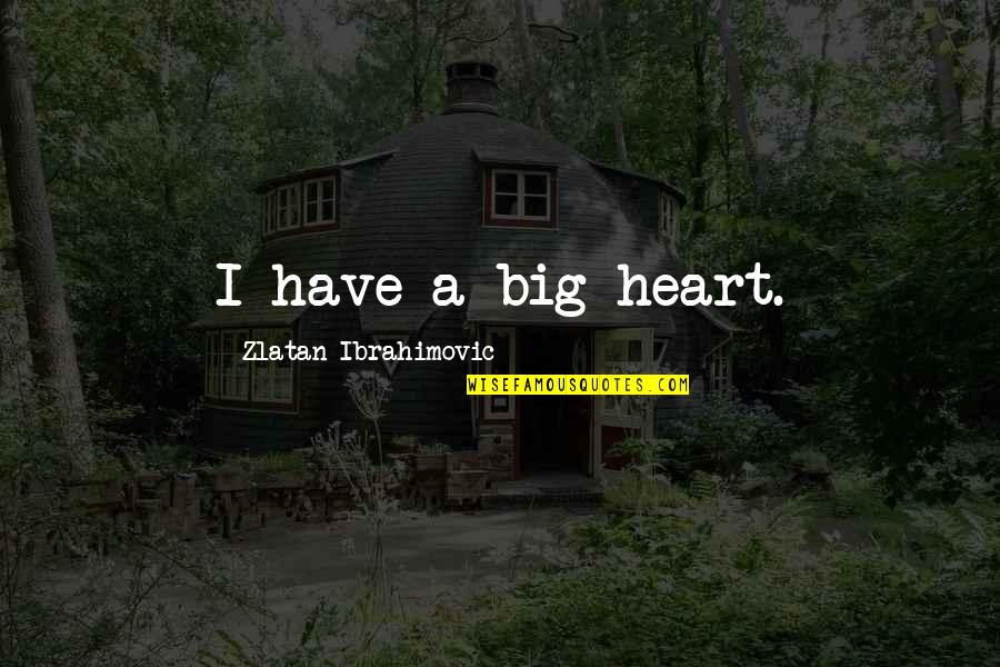 A Big Heart Quotes By Zlatan Ibrahimovic: I have a big heart.