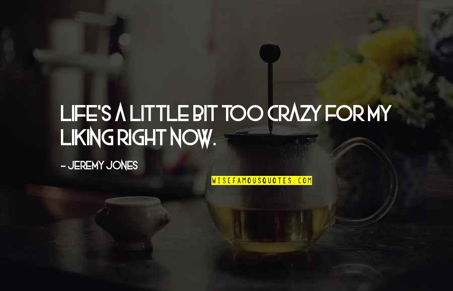 A Bit Crazy Quotes By Jeremy Jones: Life's a little bit too crazy for my