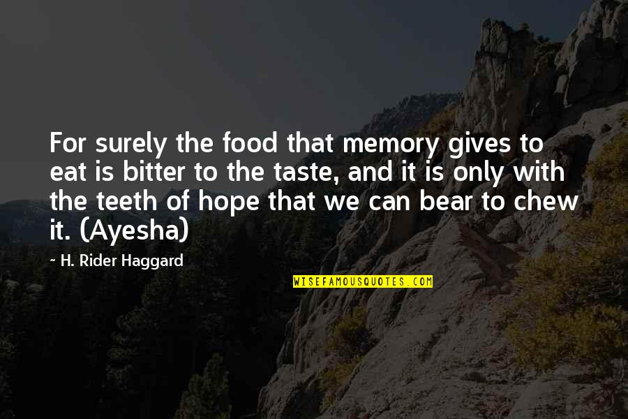 A Bitter Ex Quotes By H. Rider Haggard: For surely the food that memory gives to