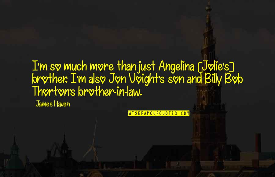 A Brother In Law Quotes By James Haven: I'm so much more than just Angelina [Jolie's]