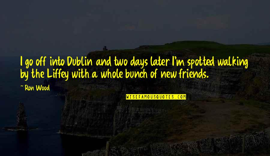 A Bunch Of Friends Quotes By Ron Wood: I go off into Dublin and two days