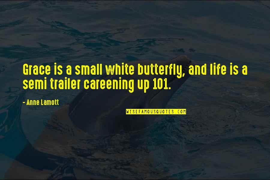 A Butterfly Quotes By Anne Lamott: Grace is a small white butterfly, and life