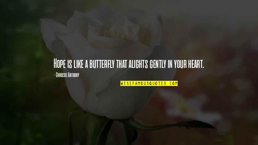 A Butterfly Quotes By Chrissie Anthony: Hope is like a butterfly that alights gently