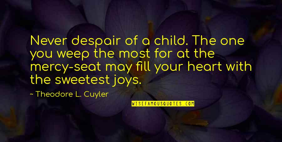 A Child's Joy Quotes By Theodore L. Cuyler: Never despair of a child. The one you