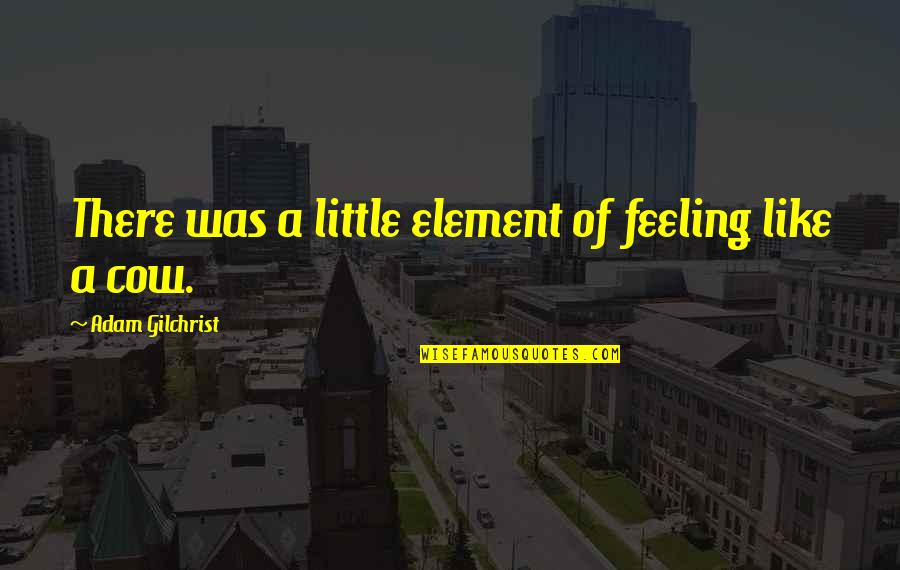 A Cow Quotes By Adam Gilchrist: There was a little element of feeling like
