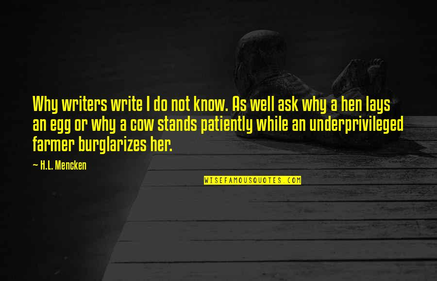 A Cow Quotes By H.L. Mencken: Why writers write I do not know. As