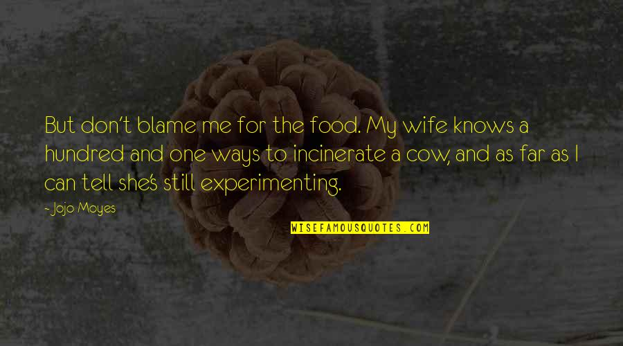 A Cow Quotes By Jojo Moyes: But don't blame me for the food. My