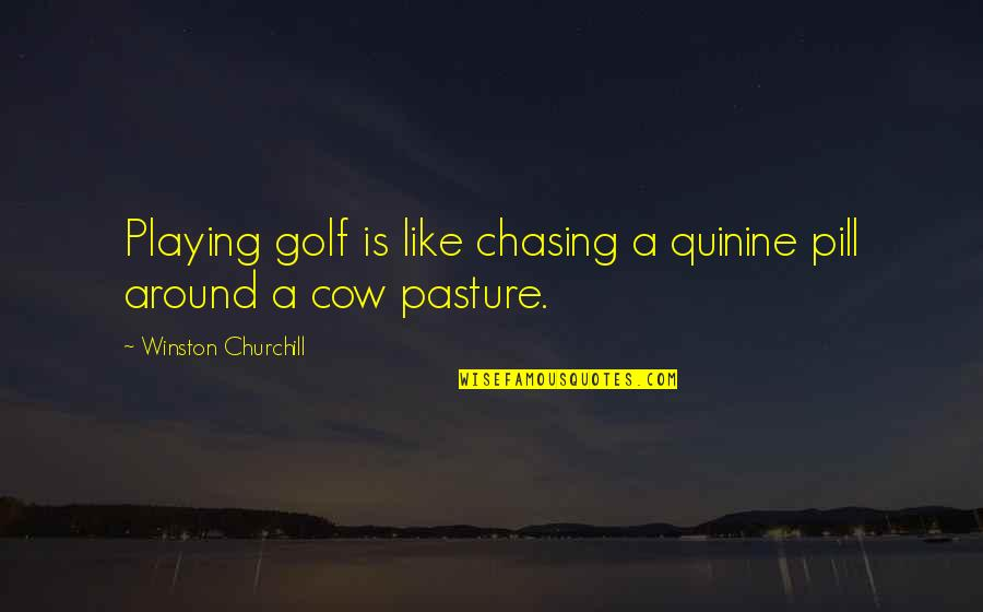 A Cow Quotes By Winston Churchill: Playing golf is like chasing a quinine pill