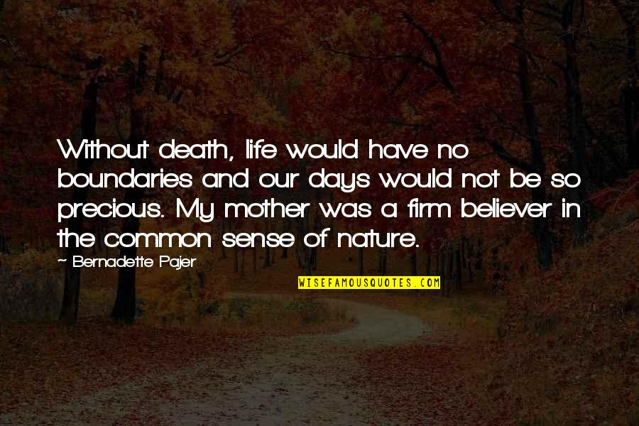 A Death Of A Mother Quotes By Bernadette Pajer: Without death, life would have no boundaries and