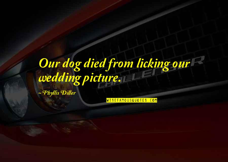 A Dog That Died Quotes By Phyllis Diller: Our dog died from licking our wedding picture.