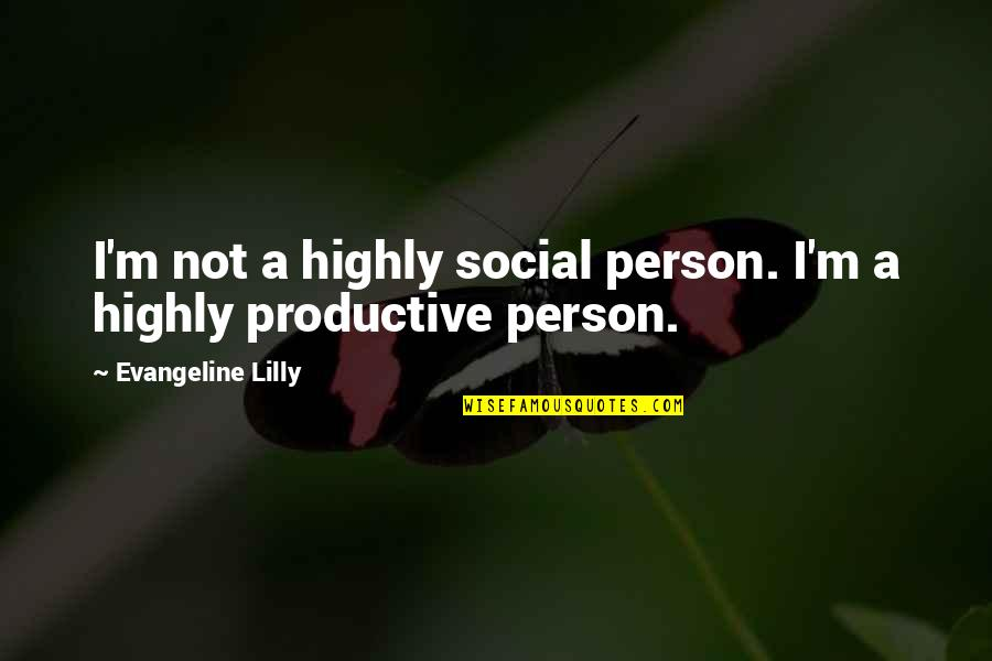 A Doll's House Doll Quotes By Evangeline Lilly: I'm not a highly social person. I'm a