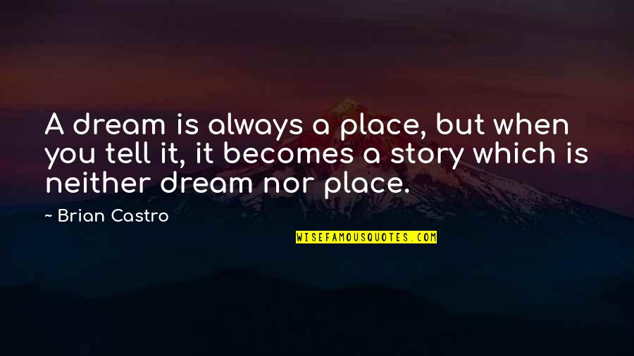 A Dream Place Quotes By Brian Castro: A dream is always a place, but when