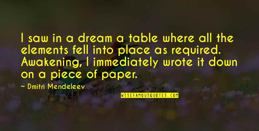 A Dream Place Quotes By Dmitri Mendeleev: I saw in a dream a table where