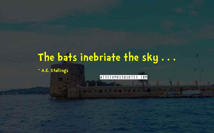 A.E. Stallings quotes: The bats inebriate the sky . . .